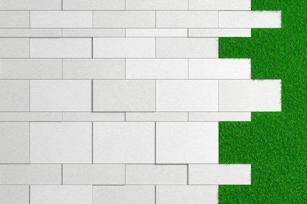 Textur von platten unterschiedlicher größe aus grobem beton auf einem grünen rasen. 3d darstellung