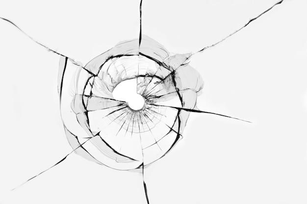Textur von rissen aus einem schuss auf glasscherben.