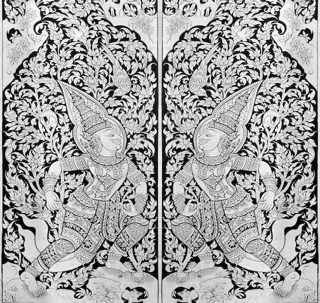 Thai-malerei auf holz schwarz und weiß