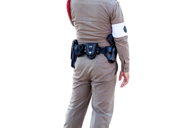 Thai polizeiuniform, polizei stehend führen officiate isoliert auf weißem hintergrund, datei enthält mit beschneidungspfad so einfach zu arbeiten.
