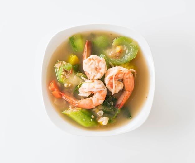 Thai spicy gemischte gemüsesuppe mit garnelen
