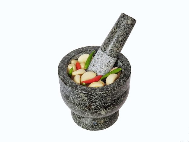 Thai steinmörtel küchengeschirr auf weiß isoliert