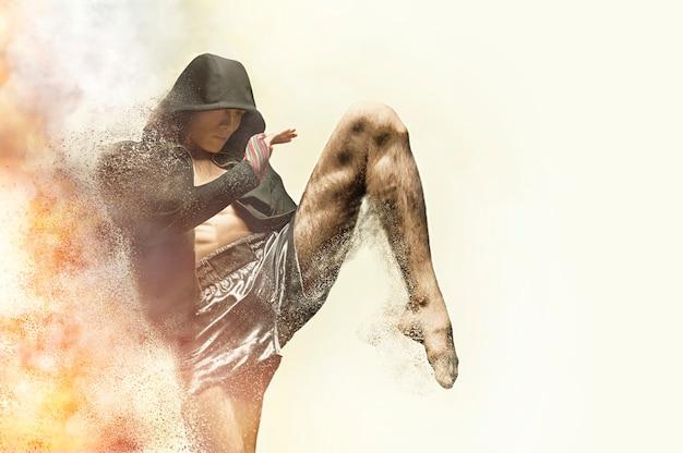 Thaiboxer im ring schlägt mit einem knie. das konzept von sport, fitnessstudios, boxclubs. gemischte medien