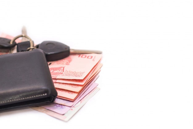 Thailändische banknoten und geldbörse