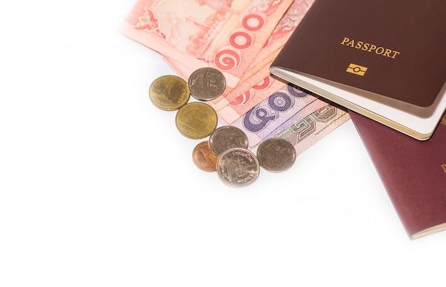 Thailändische banknoten und thailändischer pass