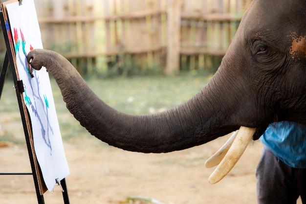 Thailändische elefanten lieben es zu zeichnen