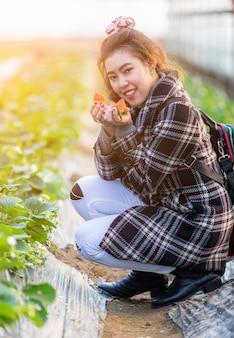 Thailändische junge frauen des reisenden, die an hand rote erdbeere im landwirtschaftsackerland korea zeigen