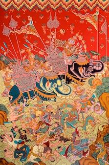 Thailändische wandmalerei kunst