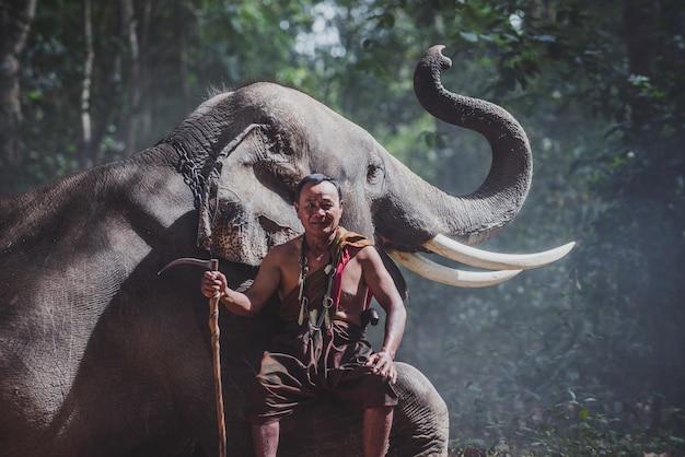 Thailändischer bauer, der mit dem elefanten im dschungel geht