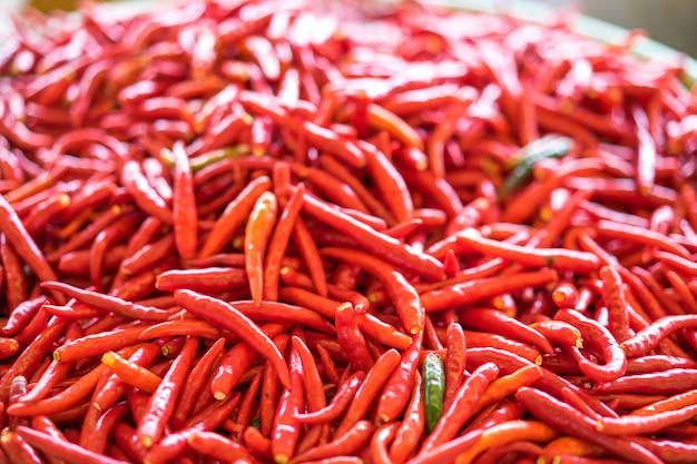 Thailändischer roter paprikapfeffer. die chilischoten sind in der küche weit verbreitet, um schärfe hinzuzufügen.