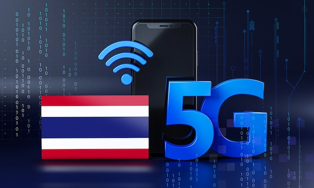 Thailand bereit für 5g-verbindungskonzept. hintergrund der 3d-rendering-smartphone-technologie