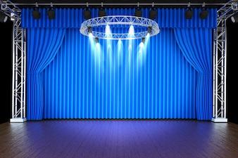 Theaterbühne mit blauen Vorhängen und Scheinwerfern
