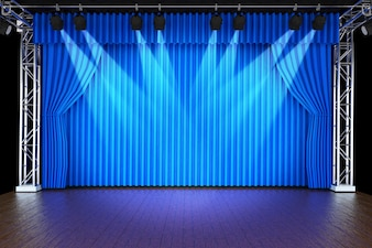 Theaterbühne mit Vorhängen und Scheinwerfern