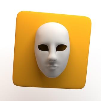 Theaterikone mit der maske lokalisiert auf weißem hintergrund. app. 3d-darstellung.