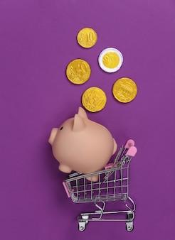 Thema einkaufen. mini-supermarktwagen mit sparschwein und münzen auf lila