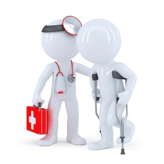 Therapeut mit stethoskop hilft einem mann auf krücken