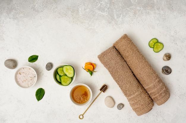 Therapeutische badekurortdekoration der draufsicht