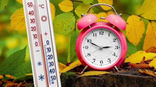 Thermometer und uhr im wald unter den herbstblättern. das thermometer in der natur zeigt eine temperatur von plus 15 grad an. herbsttemperatur