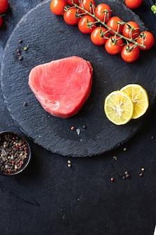 Thunfisch roher fisch frische meeresfrüchte neue saisonale fang fischmahlzeit gesunde ernährung zutat