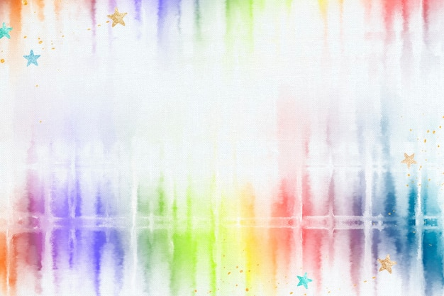 Tie-dye-hintergrund mit regenbogen-aquarell-grenze