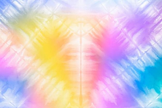 Tie-dye-hintergrund mit regenbogen-aquarellfarbe