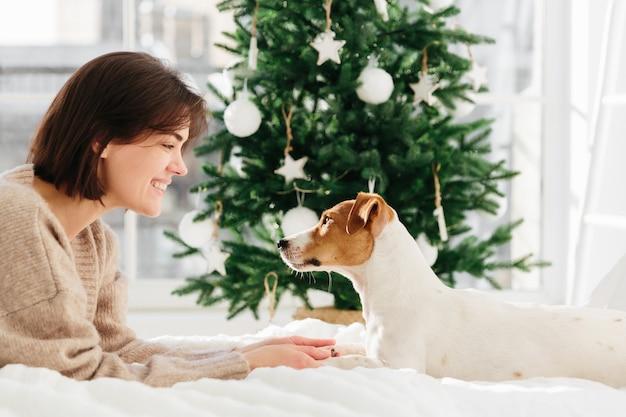 Tiere, loyalität und menschen. lächelnde brunettedame in der übergroßen braunen strickjacke spielt mit stammbaumhund