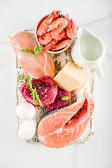 Tierische eiweißquellen, fleisch, agg, milchprodukte, käse, meeresfrüchte