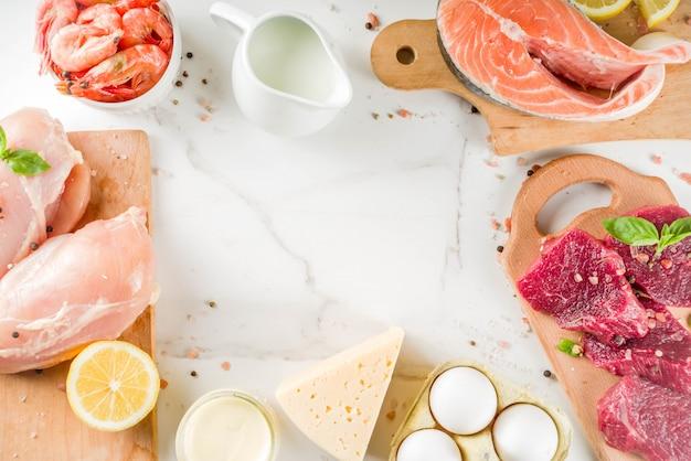 Tierische eiweißquellen, fleisch, eier, meeresfrüchte, milchprodukte