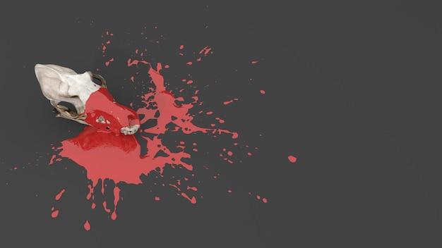 Tierschädel mit roter farbe in form eines flecks befleckt, 3d-darstellung