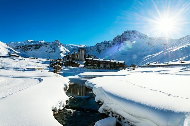 Tignes-erholungsort bis zum winter, alpen, frankreich