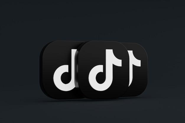 Tiktok-anwendungslogo 3d-rendering auf schwarzem hintergrund