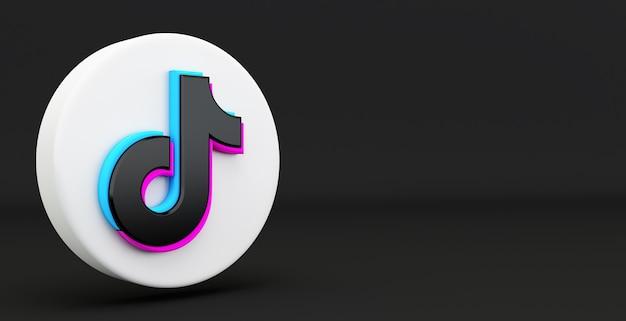 Tiktok app-symbol isoliert auf einem schwarzen hintergrund, social media-netzwerk für video