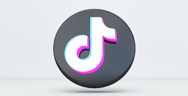 Tiktok app-symbol isoliert auf weißem hintergrund, social media-netzwerk für video