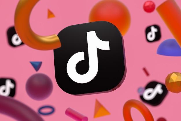 Tiktok-logo auf abstraktem geometriehintergrund