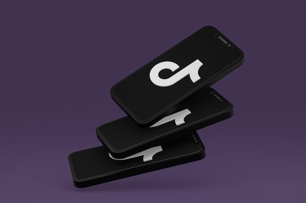 Tiktok-symbol auf dem bildschirm smartphone oder handy 3d-rendering