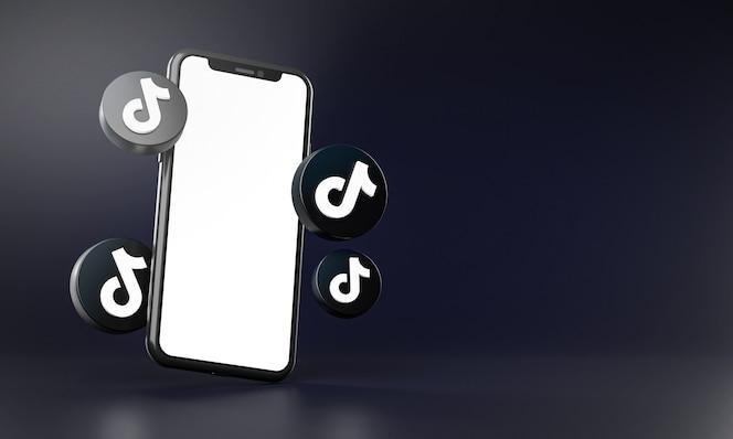 Tiktok-symbole rund um das 3d-rendering der smartphone-app