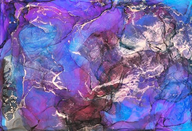 Tinte, farbe, abstrakt. abstrakte bunt gemalte galaxie. moderne abstrakte malerei der alkoholtinte, moderne zeitgenössische kunst. handgemachte abbildung.