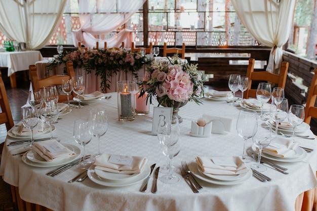 Tisch, einstellung, veranstaltung, party, hochzeit, empfang, strand.