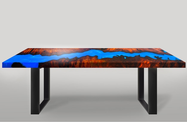 Tisch im modernen stil aus gegossenem epoxidharz padauk wurzelholzbeine aus stahl auf weißem hintergrund