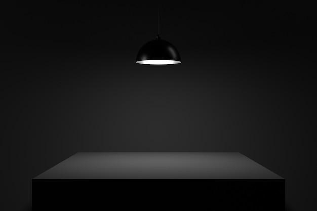 Tisch in der dunkelheit. 3d-rendering.