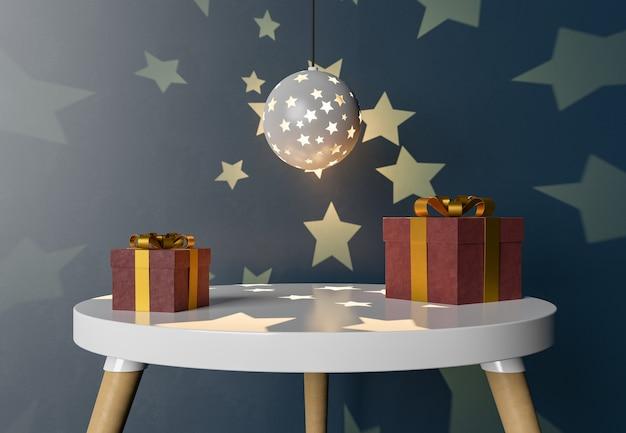 Tisch mit geschenkboxen und nachtlampe zur warenpräsentation