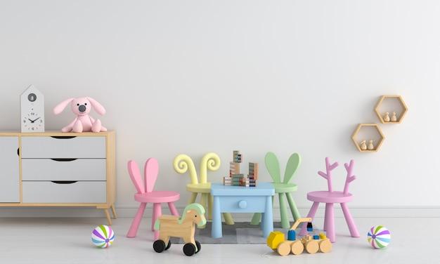 Tisch und stuhl im weißen kinderzimmer