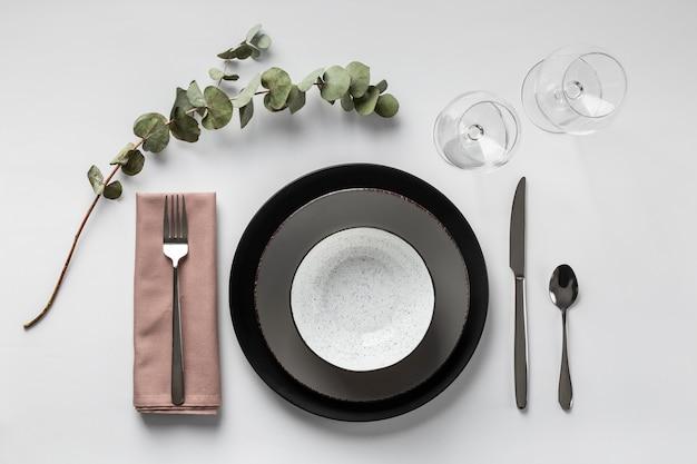 Tischanordnung mit pflanzenansicht oben
