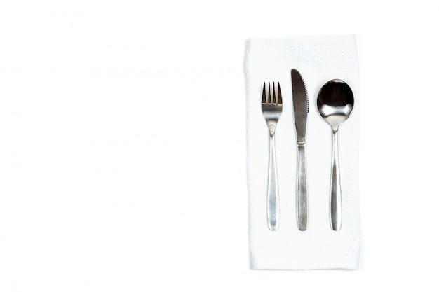 Tischbesteck auf einem weiß lokalisieren die draufsicht.
