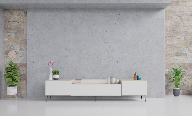 Tischfernsehen mit zementwand an der wand im modernen wohnzimmer.
