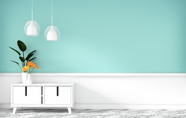 Tischkabinett im modernen tadellosen leeren raum, minimale designe, wiedergabe 3d