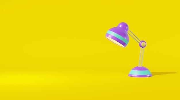 Tischlampe cartoon-stil hellviolette farbe gelben hintergrund. minimalistisches konzeptdekor klassenzimmer, büro, kinderzimmer. 3d-rendering