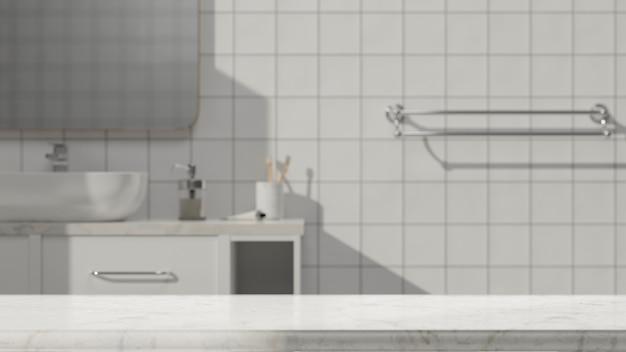 Tischmodell mit marmorplatte zur anzeige und montage über unscharfem minimalem badezimmer im hintergrund