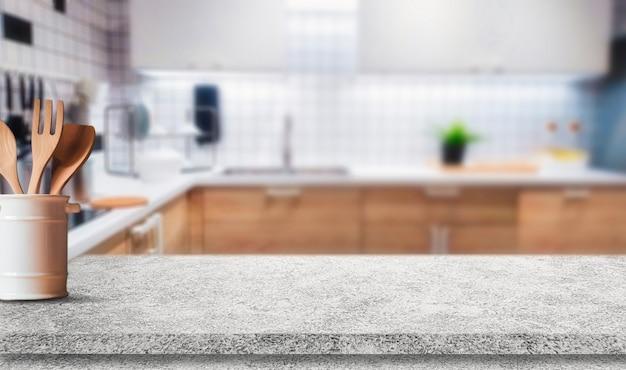 Tischplatte auf verschwommener küche