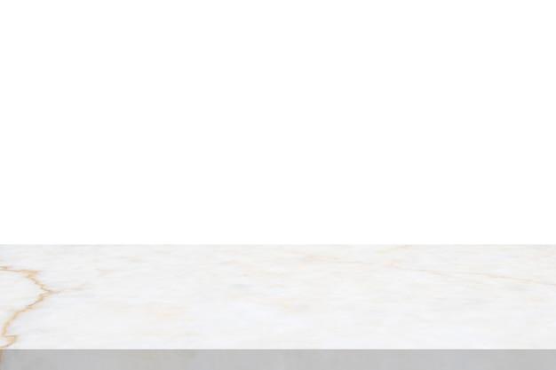 Tischplatte aus weißem marmorstein isoliert auf weißem hintergrund für die produktpräsentation